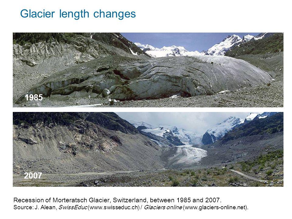 Recession of Morteratsch Glacier, Switzerland, between 1985 and 2007.