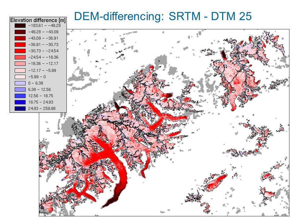 DEM-differencing: SRTM - DTM 25