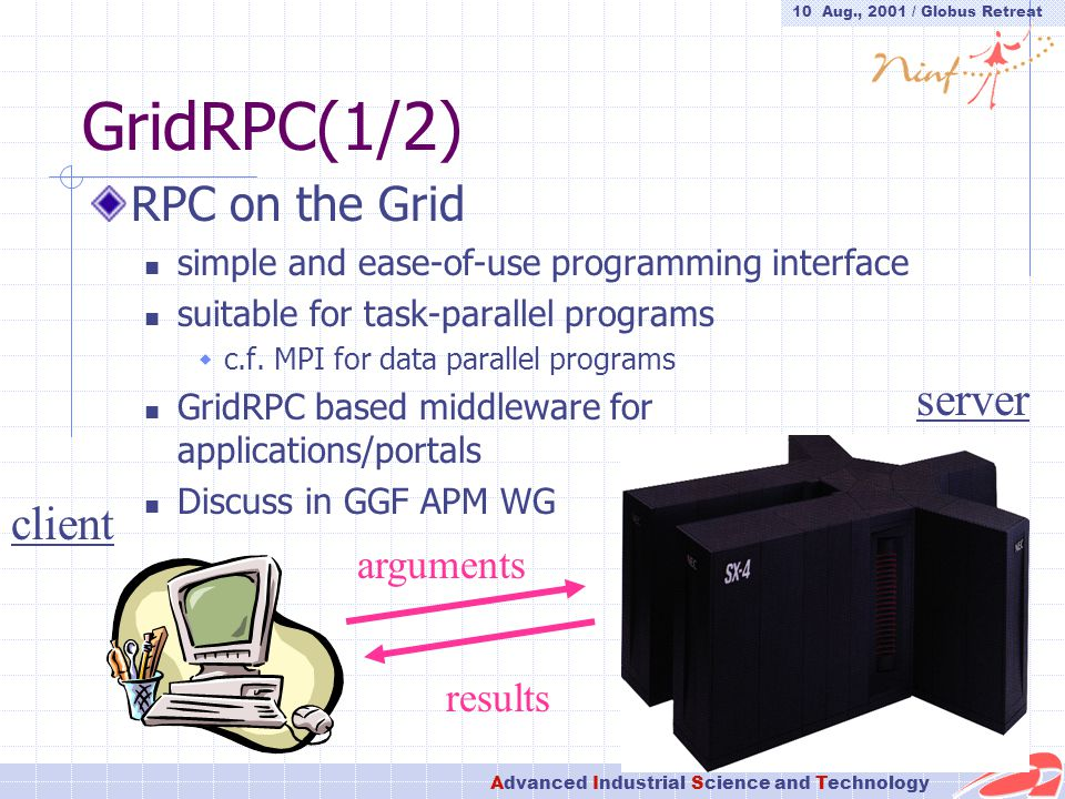 10 Aug., 2001 / Globus Retreat Advanced Industrial Science and Technology GridRPC(1/2) RPC on the Grid simple and ease-of-use programming interface suitable for task-parallel programs  c.f.