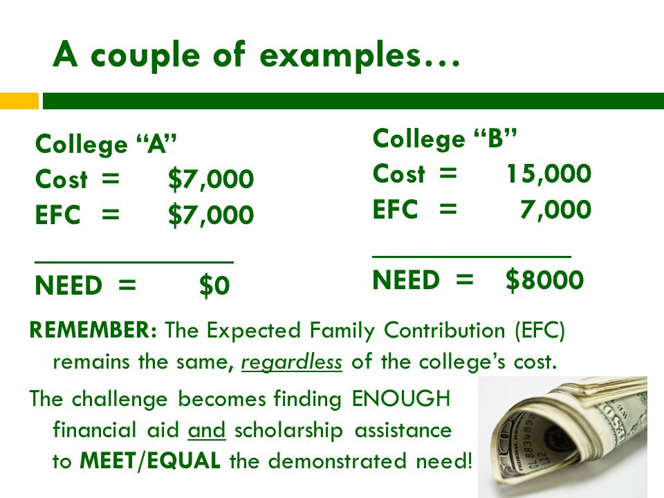 A couple of examples… REMEMBER: The Expected Family Contribution (EFC) remains the same, regardless of the college's cost.