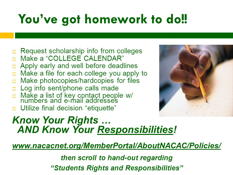 You've got homework to do!.