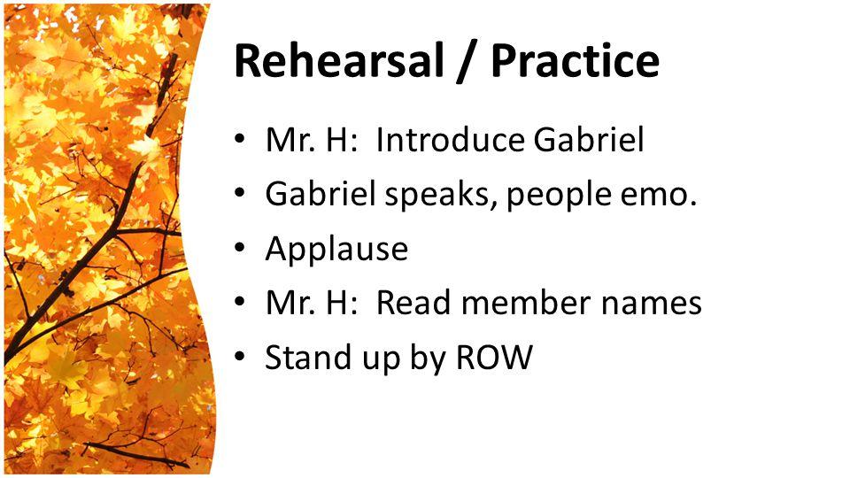 Rehearsal / Practice Mr. H: Introduce Gabriel Gabriel speaks, people emo.