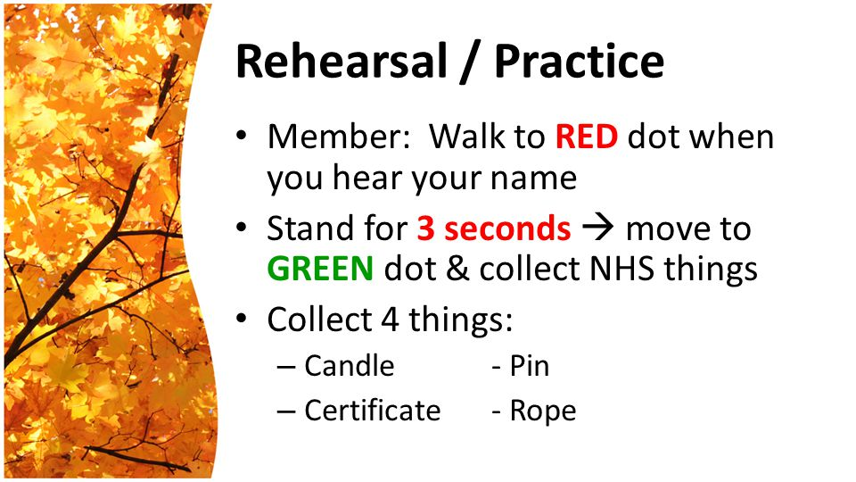 Rehearsal / Practice Member: Walk to RED dot when you hear your name Stand for 3 seconds  move to GREEN dot & collect NHS things Collect 4 things: – Candle- Pin – Certificate- Rope