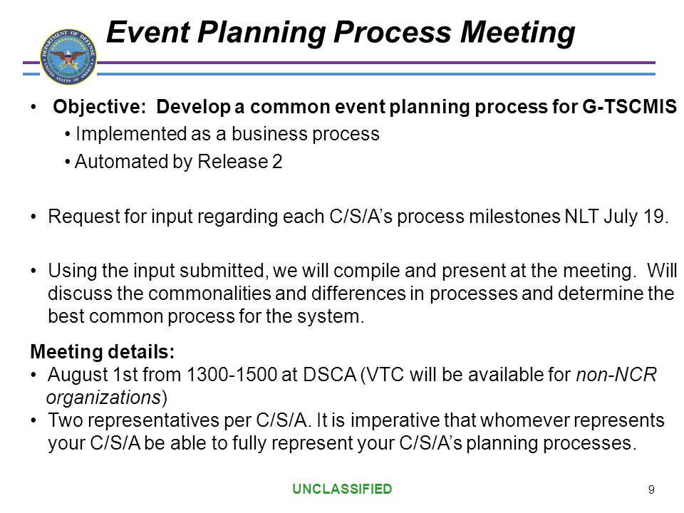 Event Planning Process Meeting Objective: Develop a common event planning process for G-TSCMIS Implemented as a business process Automated by Release
