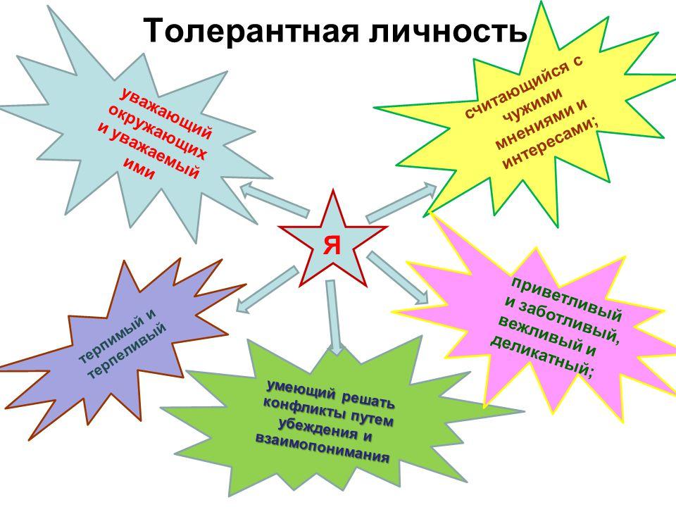 Толерантная страна –;– –;– власть справедливая профессиональная ответственная, заботящаяся о своих гражданах народ здоровый, доброжелательны й, трудолюбивый, обеспеченный, заботящийся о процветании своей страны страны, свободные, уважающие права свои и других, ценящие добрососедские отношения, мир и согласие, право страна сотрудничает с другими странами мира, сохраняя мир и дружбу во всем мире