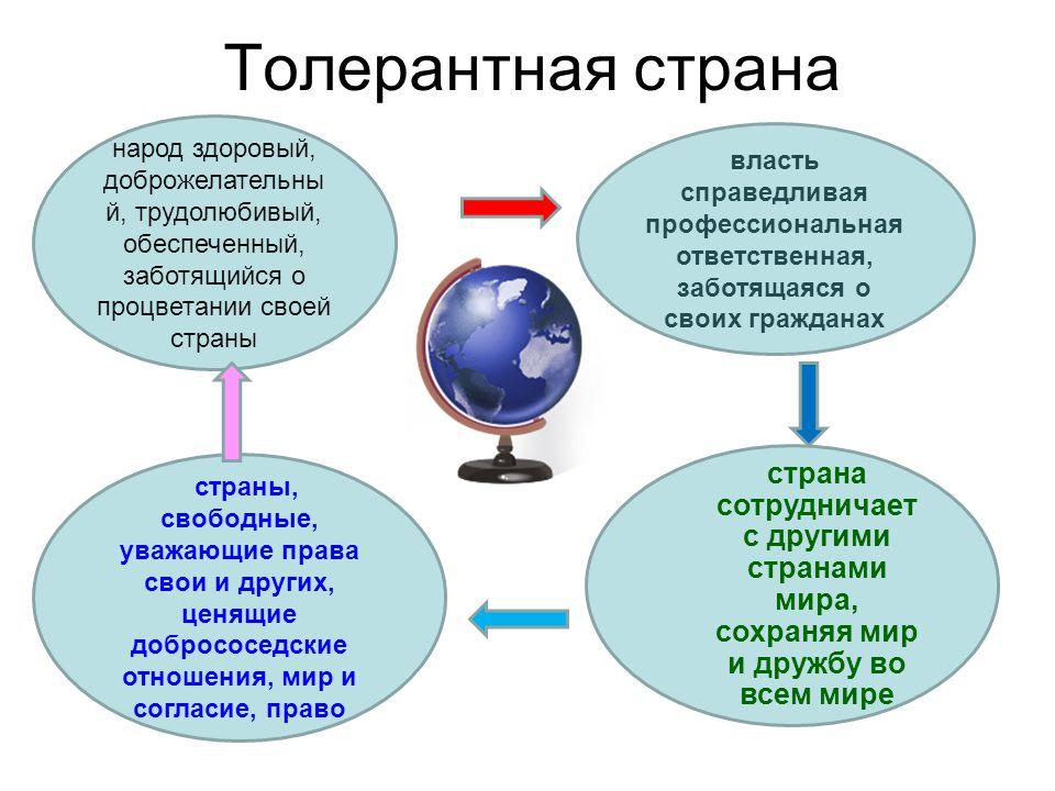 Толерантная страна –;– –;– власть справедливая профессиональная ответственная, заботящаяся о своих гражданах народ здоровый, доброжелательны й, трудол