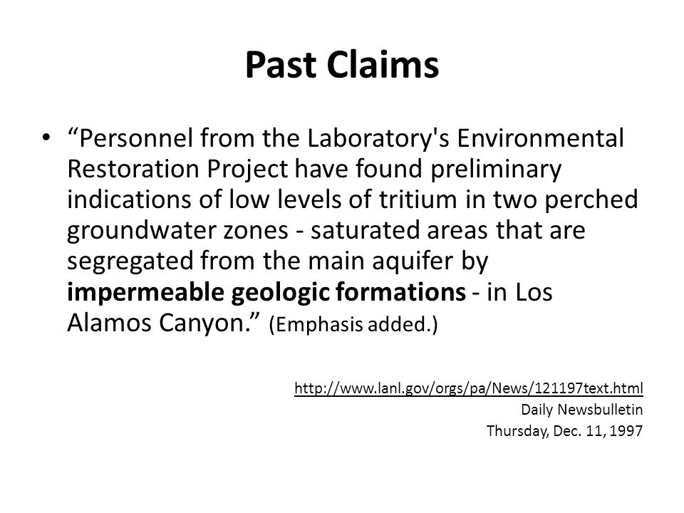 The Reality of Existing Groundwater Contamination Cr(VI) releases from cooling towers during the period 1956 to 1972 have migrated to the regional drinking-water aquifer with concentrations exceeding EPA's MCL by about 10 times. Hexavalent Chromium Contamination in Deep Groundwater Beneath LANL, Michael Dale et al, NMED DOE Oversight Bureau, 2012 EPA Training Program.
