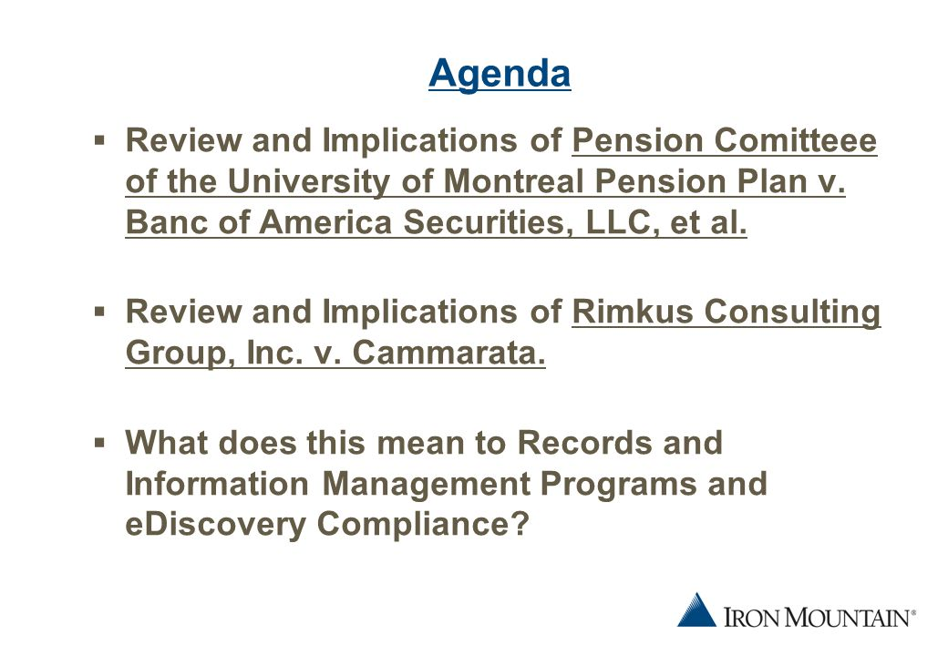 2 Agenda  Review and Implications of Pension Comitteee of the University of Montreal Pension Plan v.