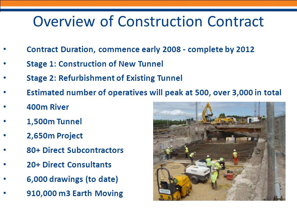 Overview of Construction Contract Contract Duration, commence early 2008 - complete by 2012 Stage 1: Construction of New Tunnel Stage 2: Refurbishment