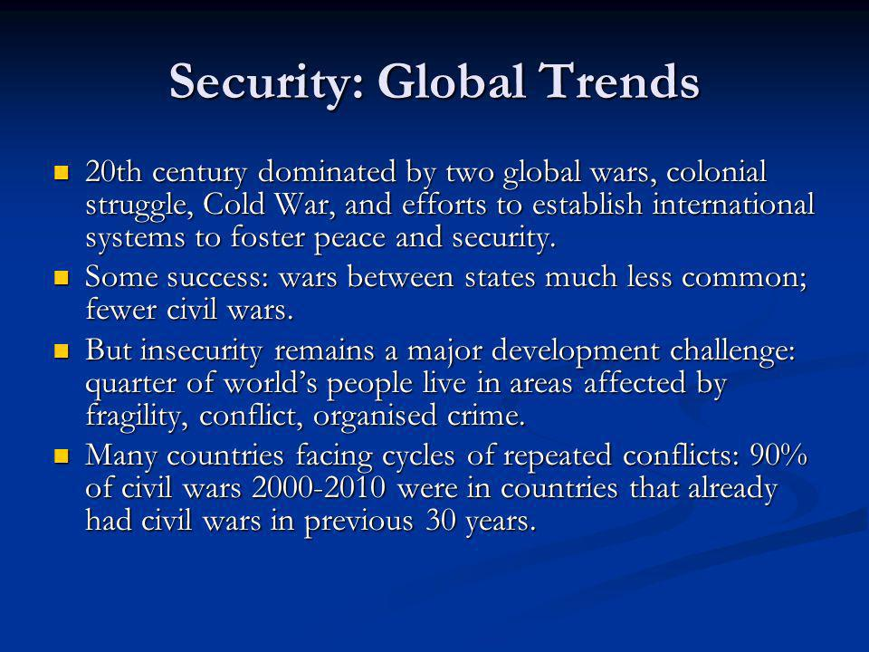 Security: Global Trends 20th century dominated by two global wars, colonial struggle, Cold War, and efforts to establish international systems to foster peace and security.