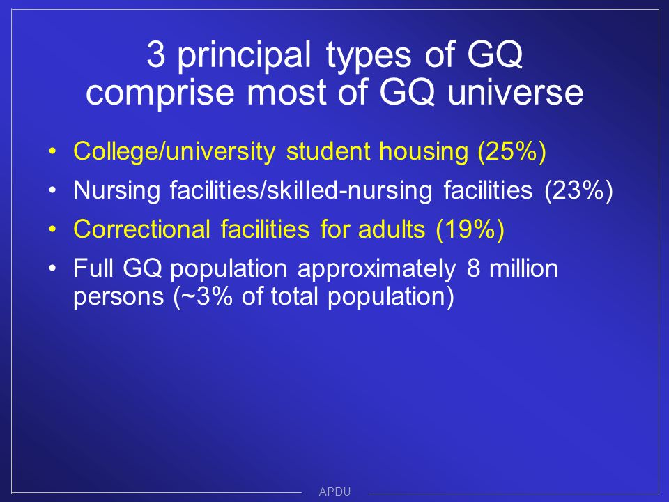 3 principal types of GQ comprise most of GQ universe College/university student housing (25%) Nursing facilities/skilled-nursing facilities (23%) Correctional facilities for adults (19%) Full GQ population approximately 8 million persons (~3% of total population) APDU