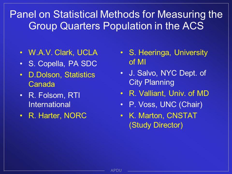 W.A.V. Clark, UCLA S. Copella, PA SDC D.Dolson, Statistics Canada R.
