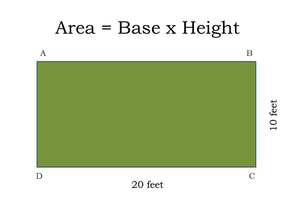 Area = Base x Height AB DC 20 feet 10 feet