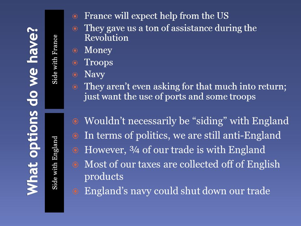 Side with France Side with England  France will expect help from the US  They gave us a ton of assistance during the Revolution  Money  Troops  Navy  They aren't even asking for that much into return; just want the use of ports and some troops  Wouldn't necessarily be siding with England  In terms of politics, we are still anti-England  However, ¾ of our trade is with England  Most of our taxes are collected off of English products  England's navy could shut down our trade