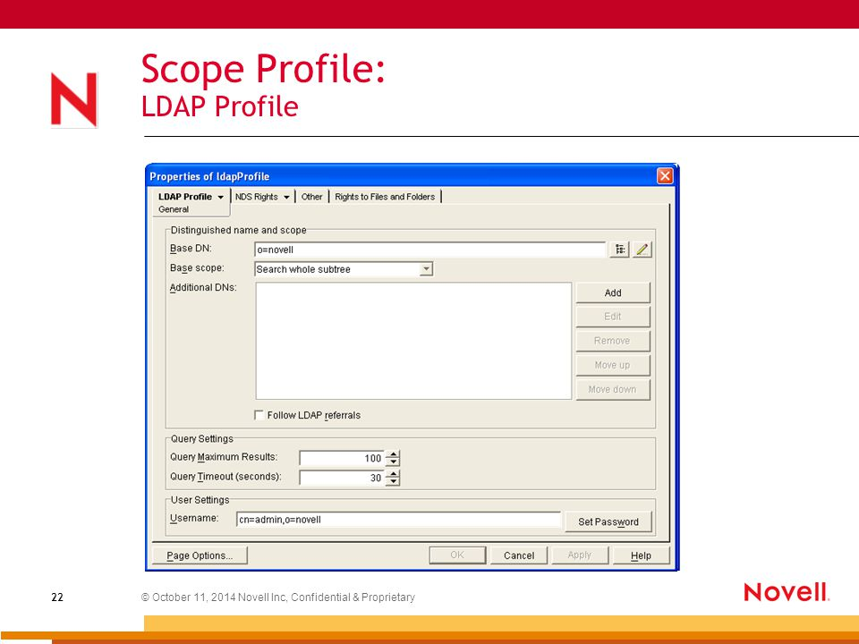 © October 11, 2014 Novell Inc, Confidential & Proprietary 22 Scope Profile: LDAP Profile
