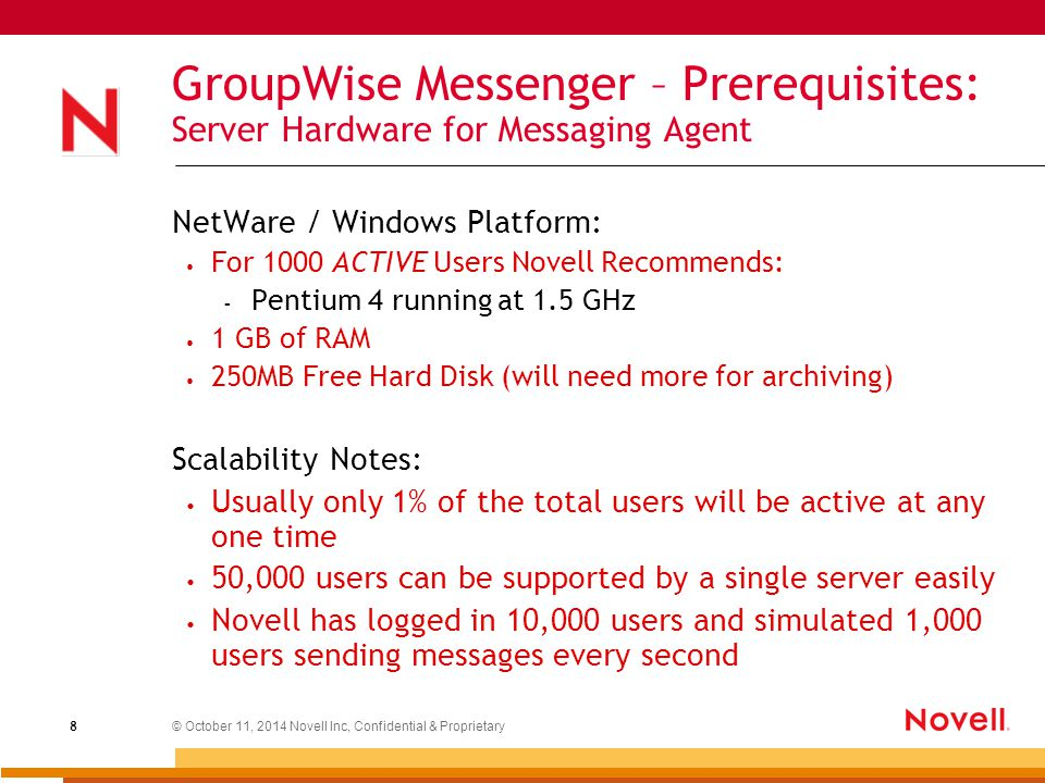 © October 11, 2014 Novell Inc, Confidential & Proprietary 19 GroupWise Messenger Policy object: Used By