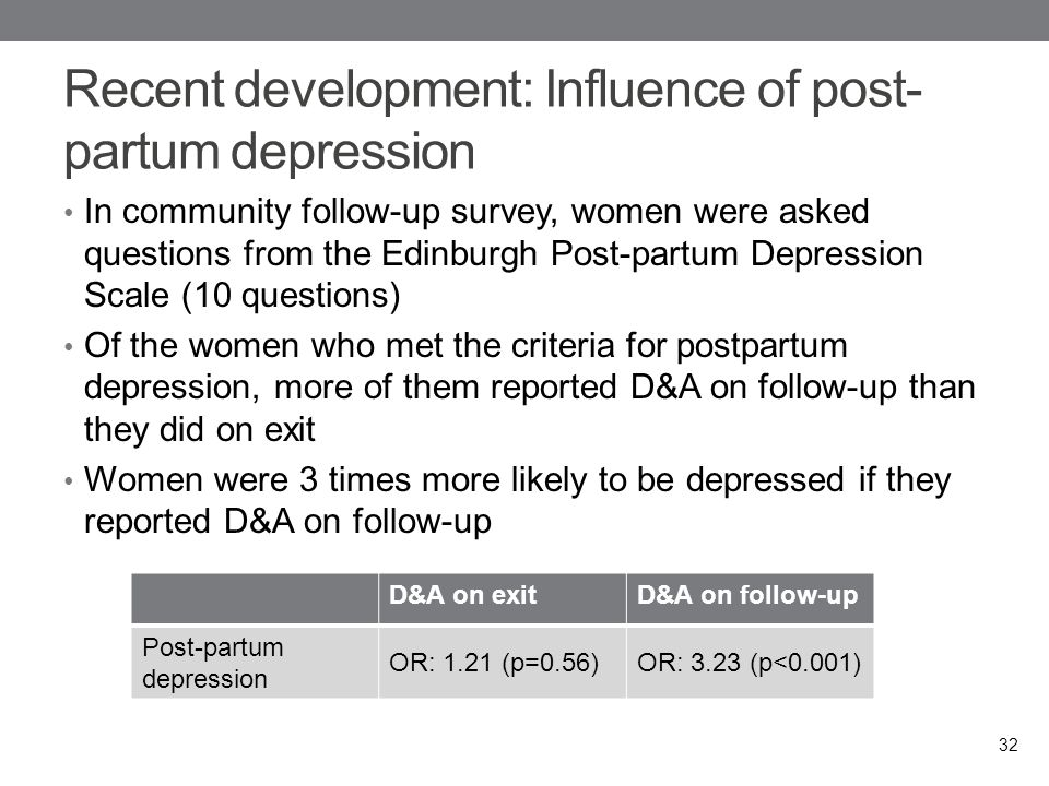 Recent development: Influence of post- partum depression In community follow-up survey, women were asked questions from the Edinburgh Post-partum Depression Scale (10 questions) Of the women who met the criteria for postpartum depression, more of them reported D&A on follow-up than they did on exit Women were 3 times more likely to be depressed if they reported D&A on follow-up 32 D&A on exitD&A on follow-up Post-partum depression OR: 1.21 (p=0.56)OR: 3.23 (p<0.001)