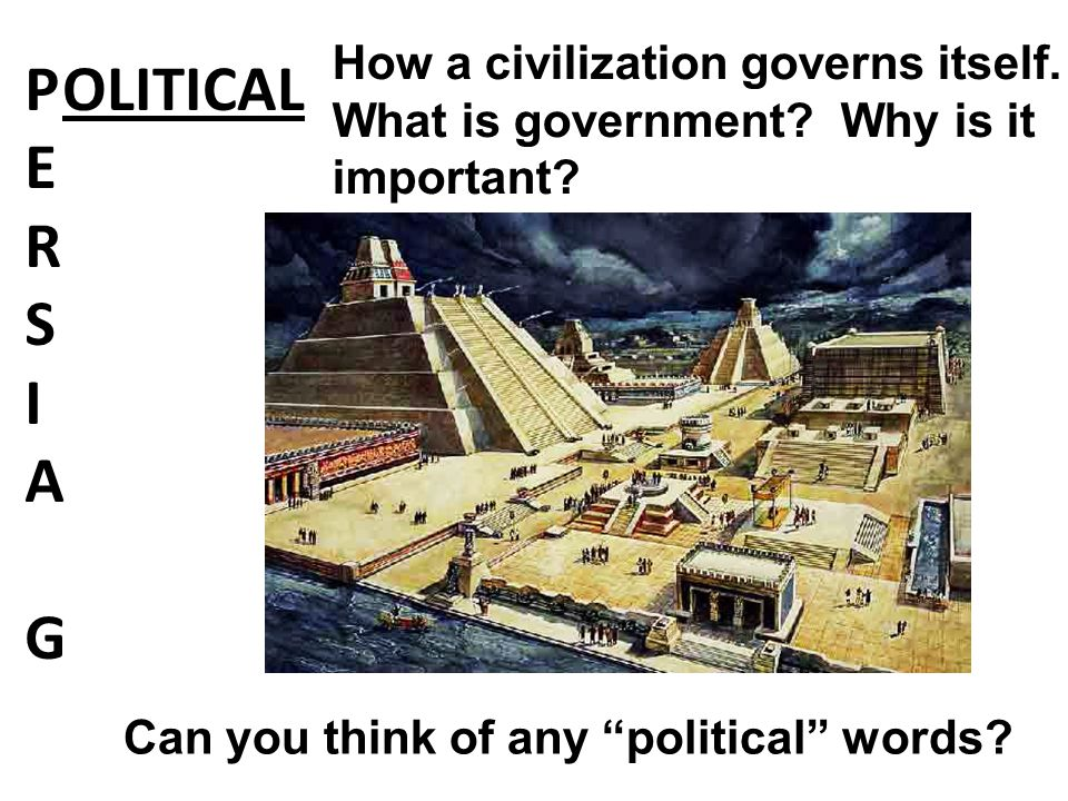 """PERSIAGPERSIAG OLITICAL How a civilization governs itself. What is government? Why is it important? Can you think of any """"political"""" words?"""