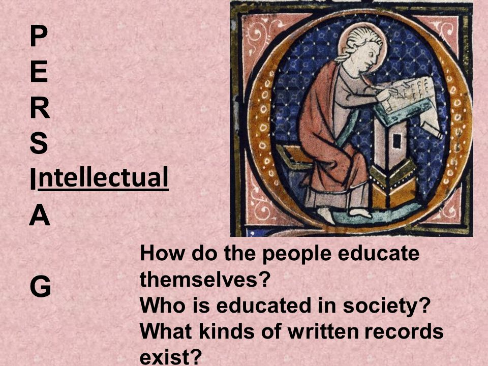 PERSIAGPERSIAG ntellectual How do the people educate themselves? Who is educated in society? What kinds of written records exist?