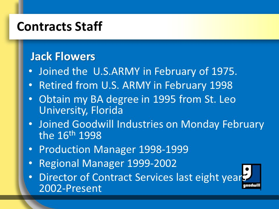 Contracts Staff Joined the U.S.ARMY in February of 1975.
