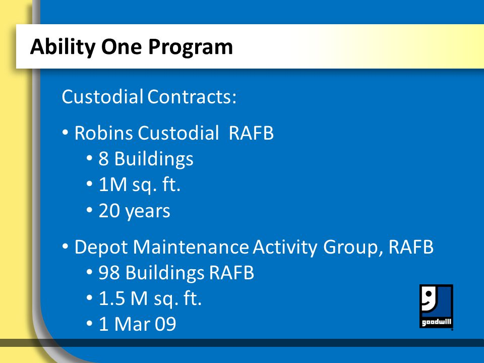 Ability One Program Custodial Contracts: Robins Custodial RAFB 8 Buildings 1M sq.