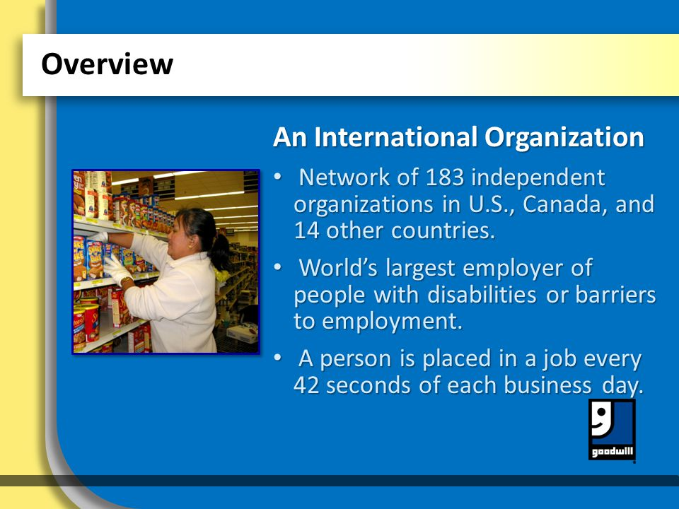 An International Organization Network of 183 independent organizations in U.S., Canada, and 14 other countries.