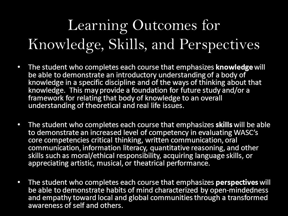 Learning Outcomes for Knowledge, Skills, and Perspectives The student who completes each course that emphasizes knowledge will be able to demonstrate an introductory understanding of a body of knowledge in a specific discipline and of the ways of thinking about that knowledge.