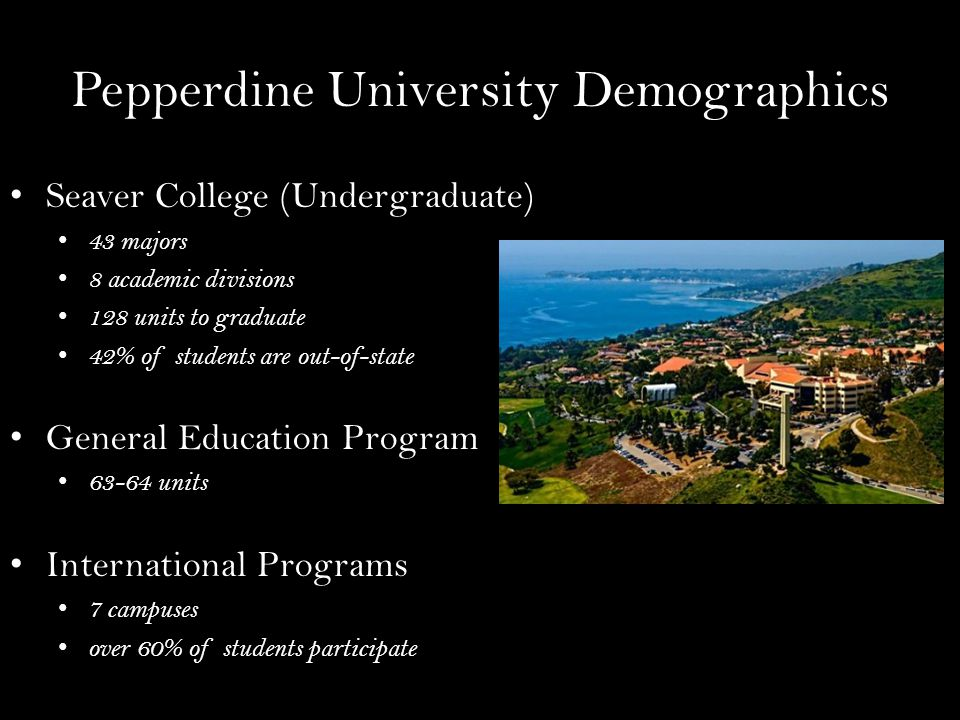 Pepperdine University Demographics Seaver College (Undergraduate) 43 majors 8 academic divisions 128 units to graduate 42% of students are out-of-state General Education Program 63-64 units International Programs 7 campuses over 60% of students participate
