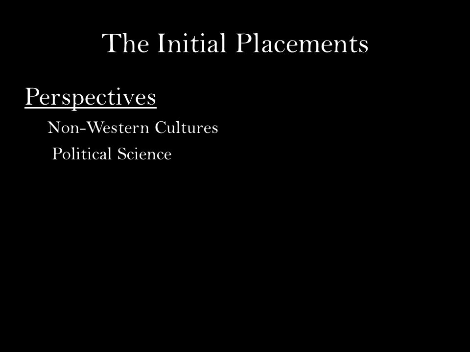 The Initial Placements Perspectives Non-Western Cultures Political Science