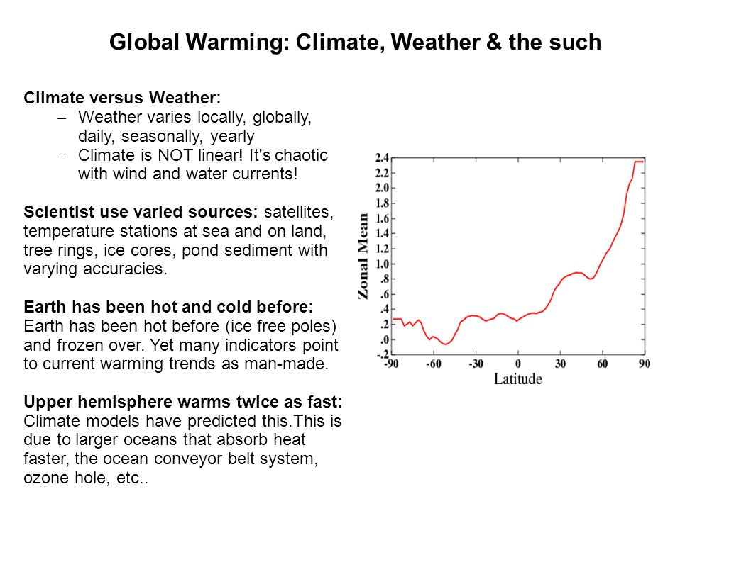 Global Warming: Climate, Weather & the such Climate versus Weather: – Weather varies locally, globally, daily, seasonally, yearly – Climate is NOT lin