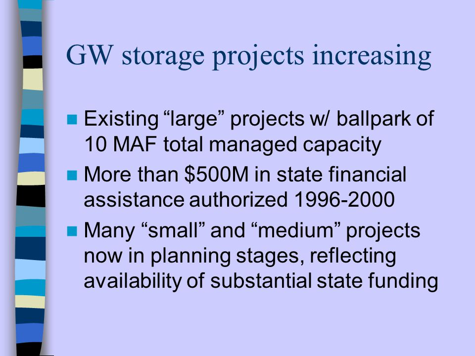 GW storage projects increasing Existing large projects w/ ballpark of 10 MAF total managed capacity More than $500M in state financial assistance authorized 1996-2000 Many small and medium projects now in planning stages, reflecting availability of substantial state funding