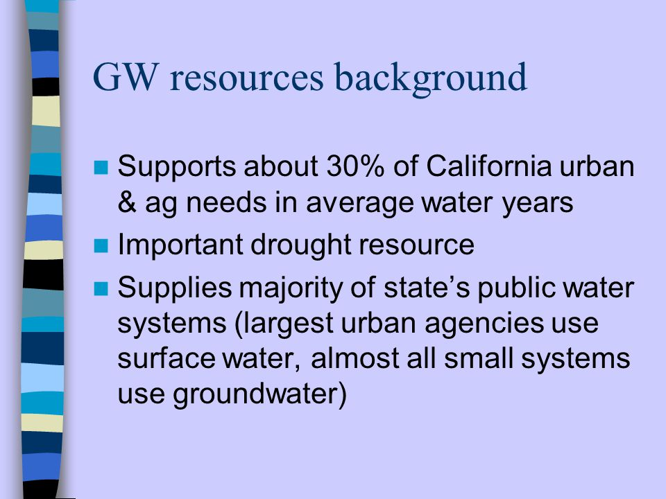 Rights to use of groundwater Not administered by State (unlike surface water) Developed through case law