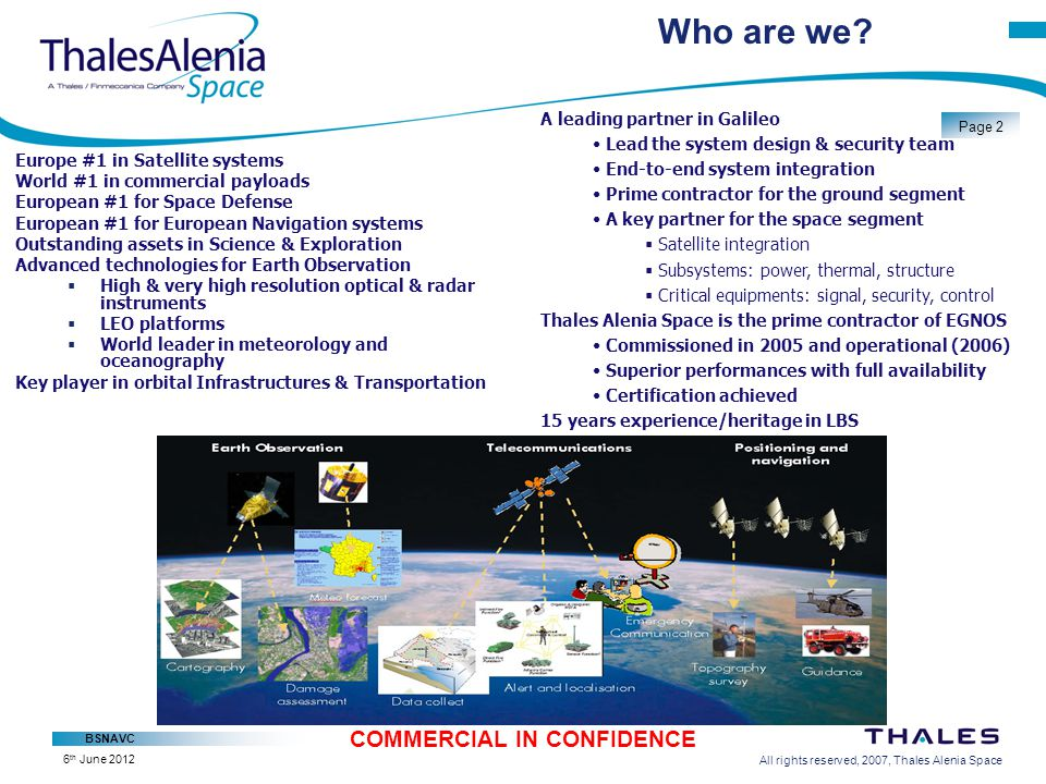 All rights reserved, 2007, Thales Alenia Space BSNAVC Page 13 COMMERCIAL IN CONFIDENCE 6 th June 2012 Area Notification Subscription Params