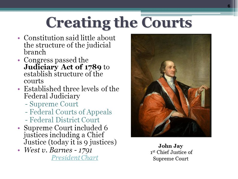 Creating the Courts Constitution said little about the structure of the judicial branch Congress passed the Judiciary Act of 1789 to establish structure of the courts Established three levels of the Federal Judiciary - Supreme Court - Federal Courts of Appeals - Federal District Court Supreme Court included 6 justices including a Chief Justice (today it is 9 justices) West v.