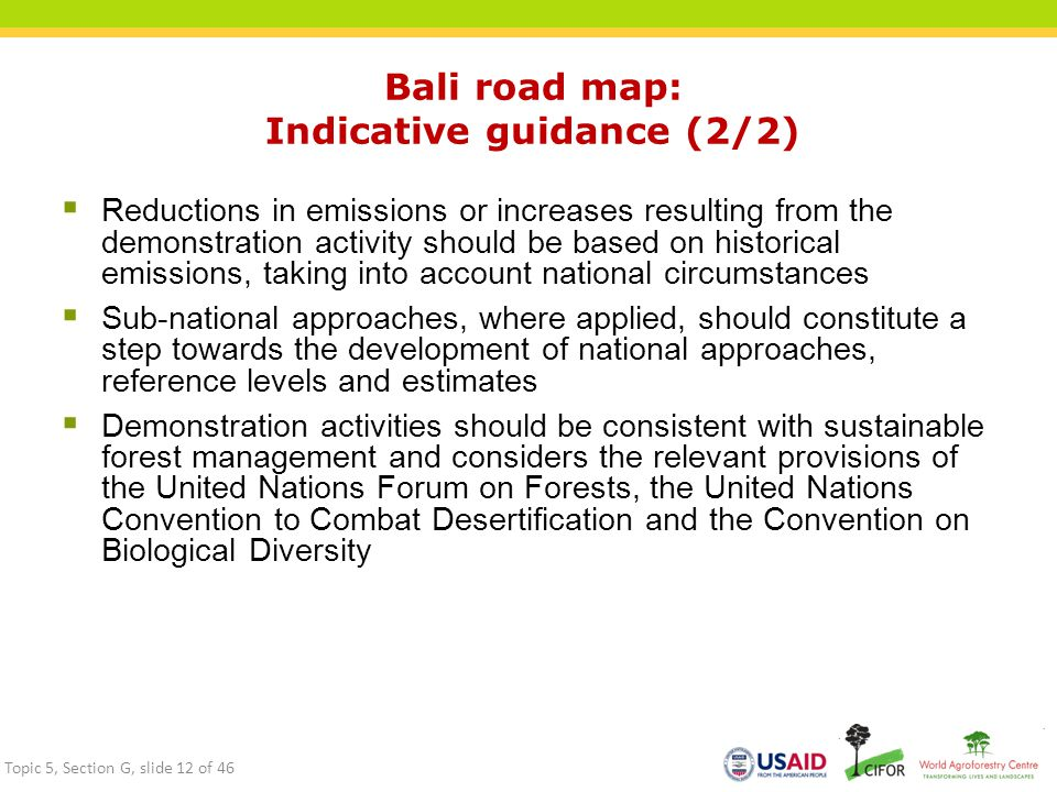 Bali road map: Indicative guidance (2/2)  Reductions in emissions or increases resulting from the demonstration activity should be based on historica