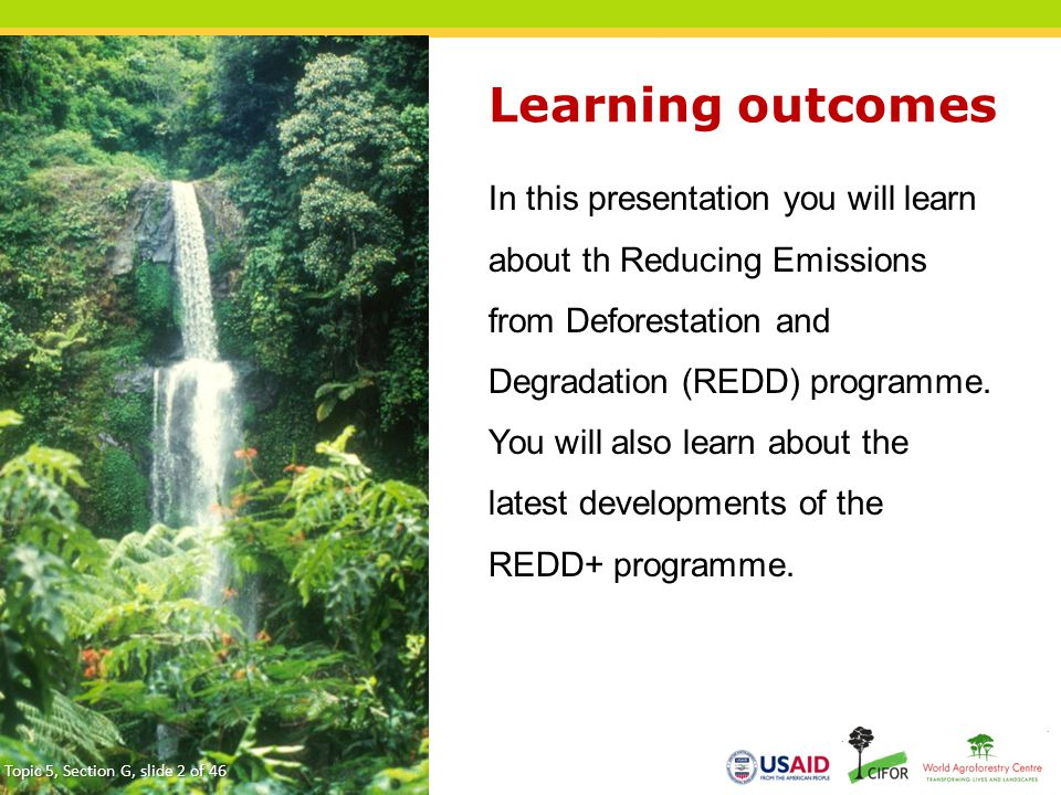 Learning outcomes In this presentation you will learn about th Reducing Emissions from Deforestation and Degradation (REDD) programme. You will also l