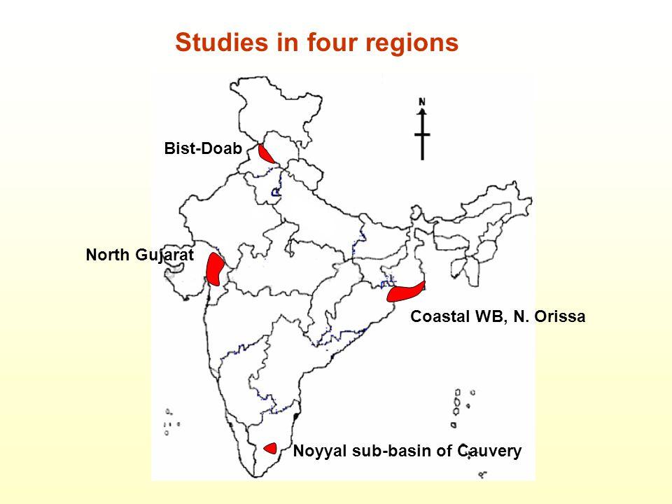 Bist-Doab North Gujarat Coastal WB, N. Orissa Noyyal sub-basin of Cauvery