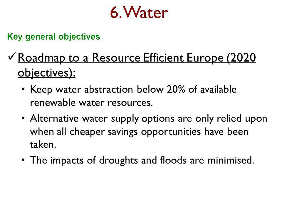6. Water Roadmap to a Resource Efficient Europe (2020 objectives): Keep water abstraction below 20% of available renewable water resources. Alternativ