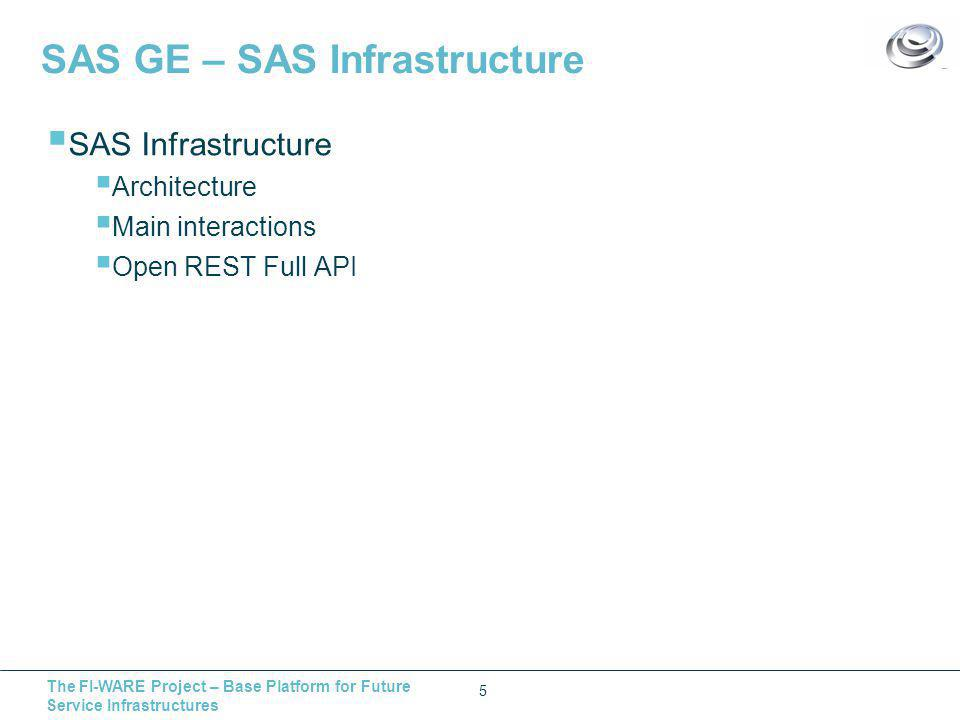The FI-WARE Project – Base Platform for Future Service Infrastructures SAS GE – SAS Infrastructure 5  SAS Infrastructure  Architecture  Main interactions  Open REST Full API