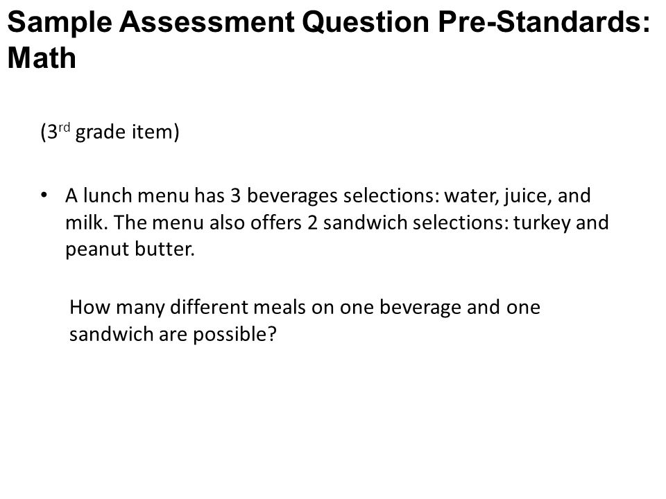 (3 rd grade item) A lunch menu has 3 beverages selections: water, juice, and milk.
