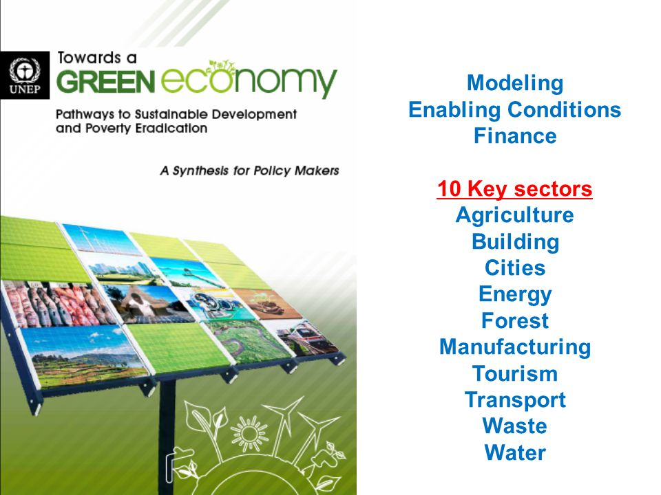 Modeling Enabling Conditions Finance 10 Key sectors Agriculture Building Cities Energy Forest Manufacturing Tourism Transport Waste Water