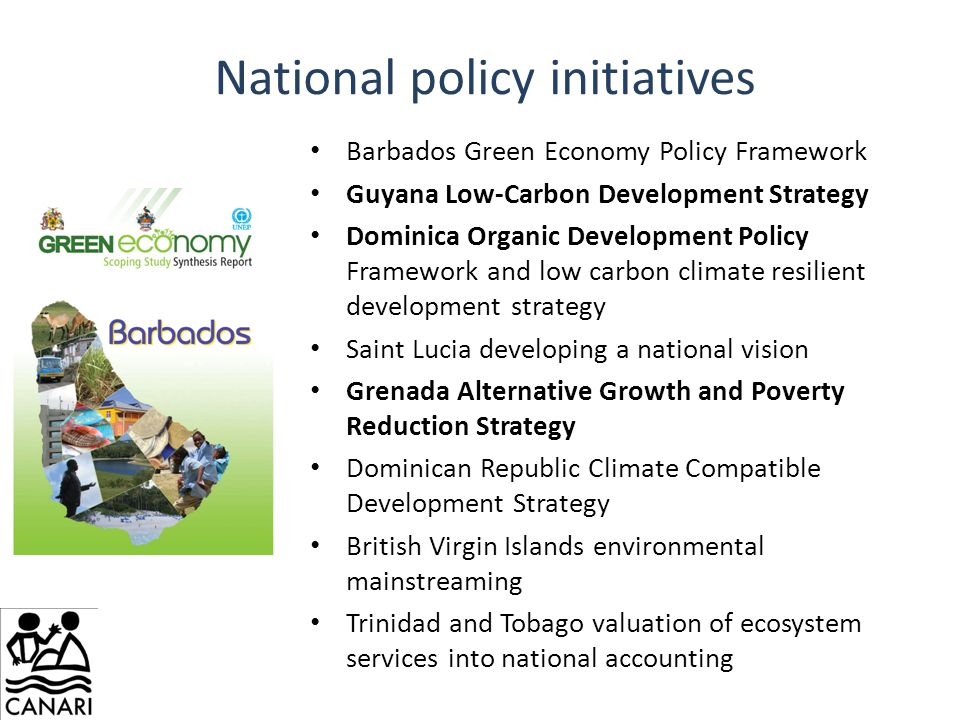 National policy initiatives Barbados Green Economy Policy Framework Guyana Low-Carbon Development Strategy Dominica Organic Development Policy Framework and low carbon climate resilient development strategy Saint Lucia developing a national vision Grenada Alternative Growth and Poverty Reduction Strategy Dominican Republic Climate Compatible Development Strategy British Virgin Islands environmental mainstreaming Trinidad and Tobago valuation of ecosystem services into national accounting