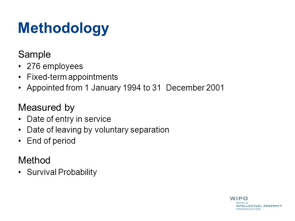 Methodology Sample 276 employees Fixed-term appointments Appointed from 1 January 1994 to 31 December 2001 Measured by Date of entry in service Date of leaving by voluntary separation End of period Method Survival Probability