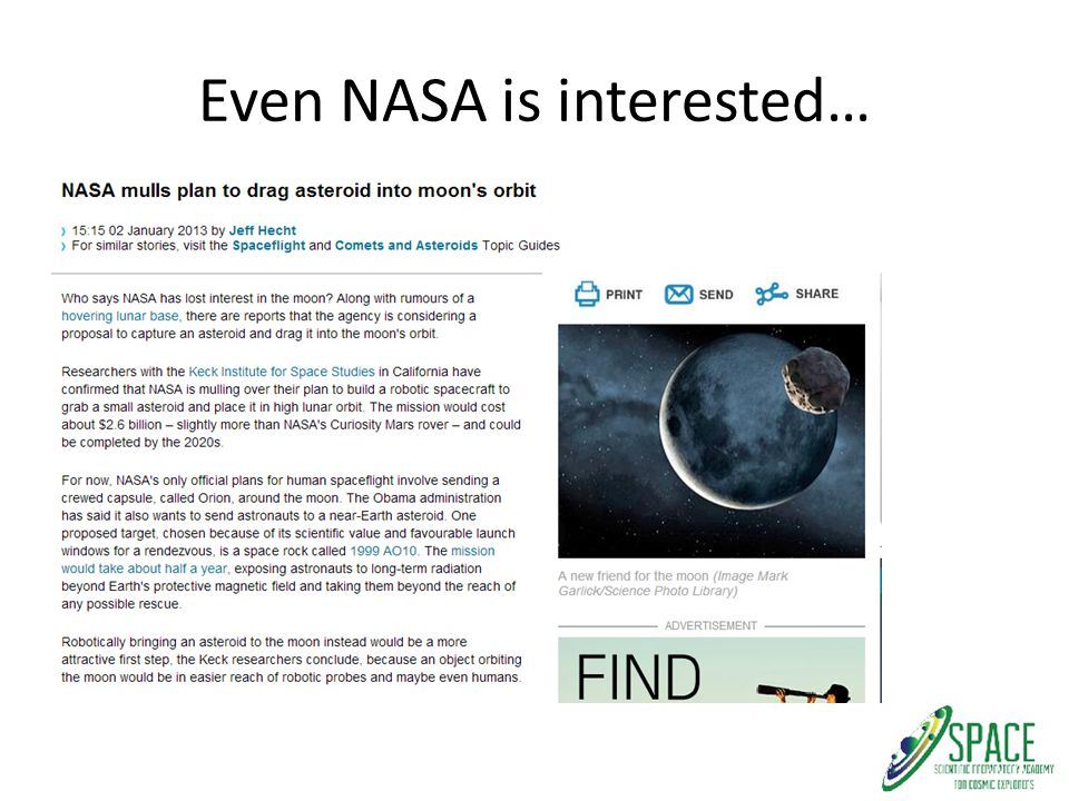 Even NASA is interested…