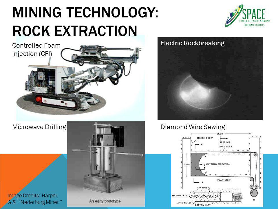 MINING TECHNOLOGY: ROCK EXTRACTION Controlled Foam Injection (CFI) Electric Rockbreaking Microwave DrillingDiamond Wire Sawing Image Credits: Harper, G.S.