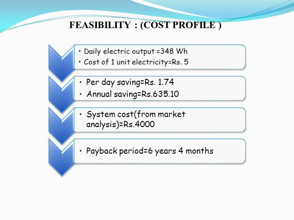 FEASIBILITY : (COST PROFILE ) Daily electric output =348 Wh Cost of 1 unit electricity=Rs.