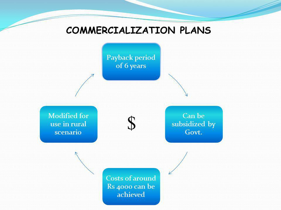 COMMERCIALIZATION PLANS Payback period of 6 years Can be subsidized by Govt.