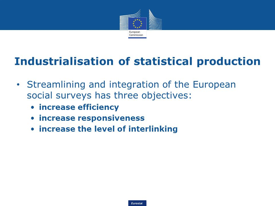 Eurostat Industrialisation of statistical production Streamlining and integration of the European social surveys has three objectives: increase effici
