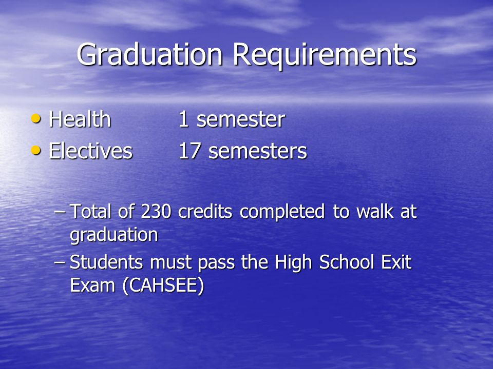 Graduation Requirements Health1 semester Health1 semester Electives17 semesters Electives17 semesters –Total of 230 credits completed to walk at graduation –Students must pass the High School Exit Exam (CAHSEE)