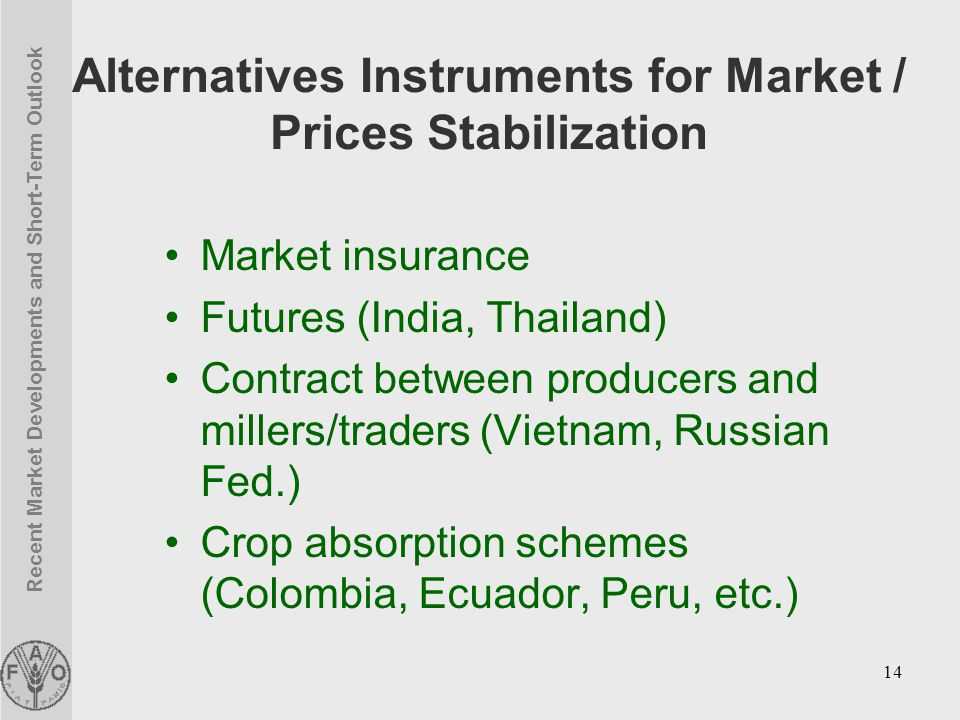 Recent Market Developments and Short-Term Outlook 14 Alternatives Instruments for Market / Prices Stabilization Market insurance Futures (India, Thailand) Contract between producers and millers/traders (Vietnam, Russian Fed.) Crop absorption schemes (Colombia, Ecuador, Peru, etc.)